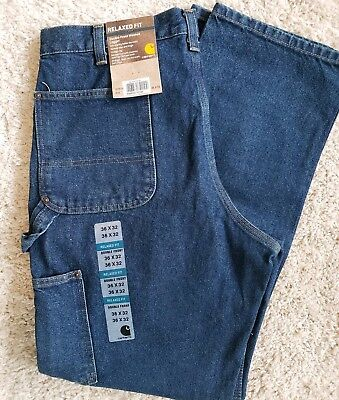 Mens Size 36×32 Relaxed Fit Double Front washed Logger Carhartt Jean's # 14806
