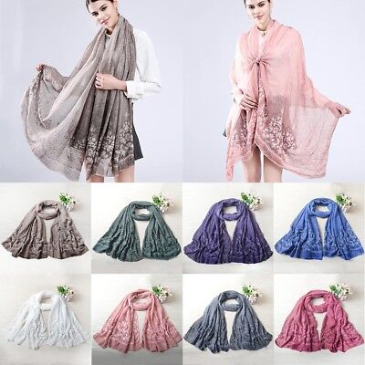 Fashion Women Floral Embroidery Cotton Scarf Wrap Shawl Stole Large Scarves Lot
