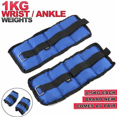 ANKLE WEIGHTS SET MULTIPURPOSE FITNESS 2 x 0.5KG=1KG BODY STRENGTH TRAINING YOGA