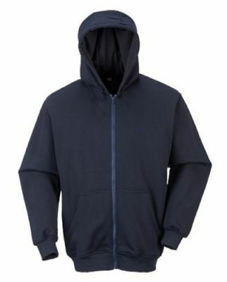 Portwest UFR81 FR Anti-Static Zipper Front Hooded Sweatshirt Navy M-6XL