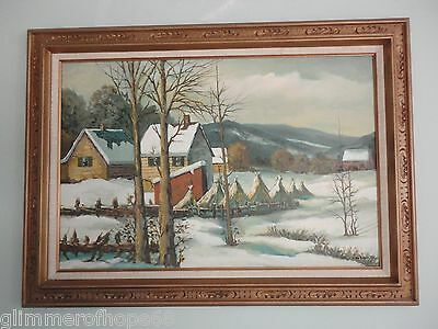 Original Large snowy scene of country side oil painting on canvas signed. Monty