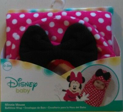 Disney Baby Girl Hooded Bath Towel Minnie Mouse Pink White Polka Dots 0-3M