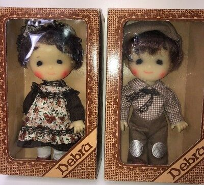 "9"" Set Of 2 Debra Vintage Dolls Adorable Cute Couple Mint In Box #0325"
