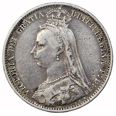 Great Britain 1891 Silver Sixpence KM#760 6 Pence Queen Victoria British Coin