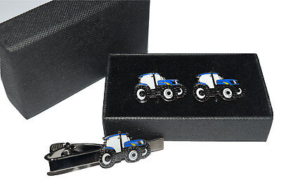 Blue Tractor Cufflinks & Tie Clip Ford/New Holland GIFT Boxed Enamel Farming