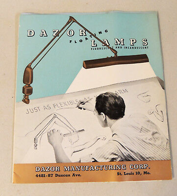 vtg 1946 DAZOR Art Deco Industrial Lighting CATALOG Drafting Art Architect LAMPS