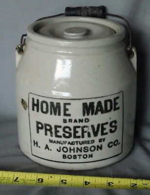 Antique Home Made Brand Preserves advertising crock H. A. Johnson Co. Boston lid