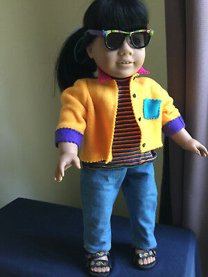 American Girl Outfit, jeans, shirt, jacket, sandals and sunglasses