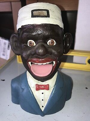 Cast Iron Mechanical Bank Black Americana White Hat