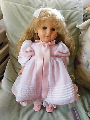 "Gotz Vintage 19"" Doll Signed and Numbered VGU Blonde Blue Eyes Pretty in Pink"