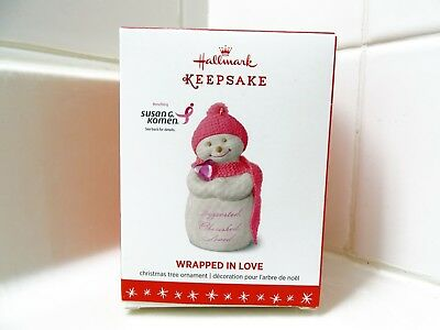 Rare 2016 New Hallmark Wrapped In Love Snowman Christmas Ornament Susan G Komen