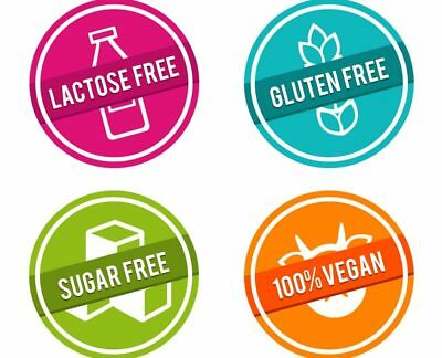 Food Allergy Free  Round Labels Circle Stickers Matt Gloss Clear Transparent Ml1