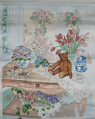 "Candamar Cross Stitch ""Teddy on Table Started Canvas w/Rotating Frame Embroidery"