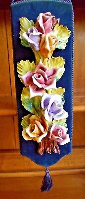 Vintage Capodimonte Rose Wall Hanging Navy Blue Background Multi-Colored Roses