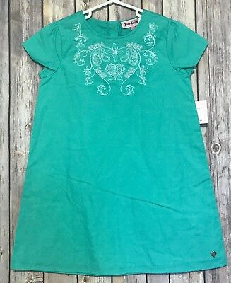 NWT Girls Juicy Couture Teal Dress w/ White Stitched Floral Design NEW 5