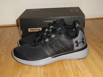 newest 58536 08004 NEW UNDER ARMOUR UA BGS Micro G Fuel RN Black Gray Shoes sneakers Boys Sz  4Y 6Y
