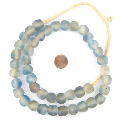 Blue Grey Mist Recycled Glass Beads 14mm Ghana African Sea Glass Multicolor
