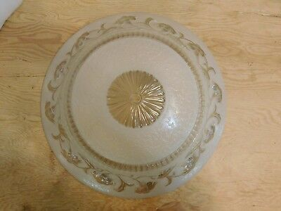 "Vintage Antique 16"" Diameter Frosted Art Deco Ceiling Fixture Glass Shade"