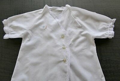 Vintage Baby's Nightgown, White Cotton, Cross-Over Front, Hand-Embroidery