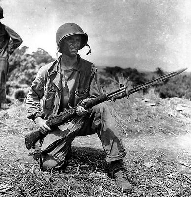 WW2 Photo, US Marine Guadalcanal  M1 Garand WWII World War Two USMC Pacific PTO