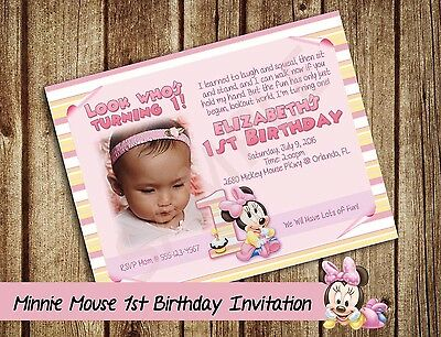 Minnie Mouse 1st Birthday Invitation Personalized Digital