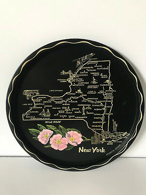 """New York US State Tin Souvenir Plate Tray Vintage 11"""" with Map Flower Wild Rose"""