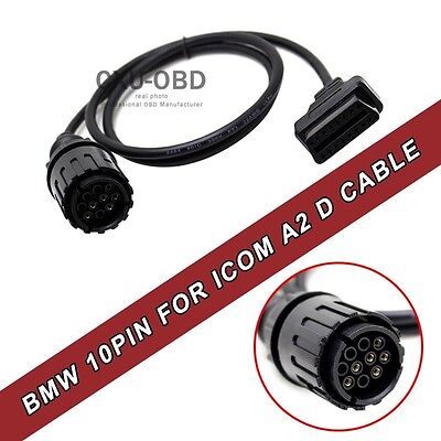NEW 10Pin To 16Pin OBD2 ICOM 10Pin connector BMW 10Pin obd to obd2 adapter 1.5M