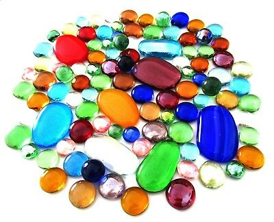 100 x Mixed Rainbow - Assorted Colours, Shapes & Sizes Glass Mosaic Gem Stones