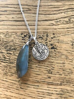 Labradorite moonstone with St Michael the archangel long silver necklace