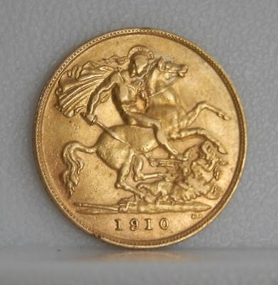 Great Britain 1910 1/2 Sovereign .9170 Gold Coin United Kingdom C0900