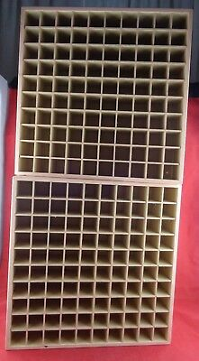 2 Wood Boxes, Removable Compartments Beads Makeup Trinkets Nuts Bolts Organizer