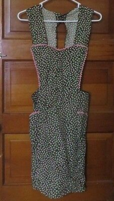 Vintage Apron Black Green &  Pink Floral Cotton w/ Pockets Full Kitchen Apron