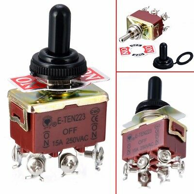 Toggle Switch 6 Pins DPDT 3 Position Momentary (ON)-OFF-(ON) Waterproof Cap 15A