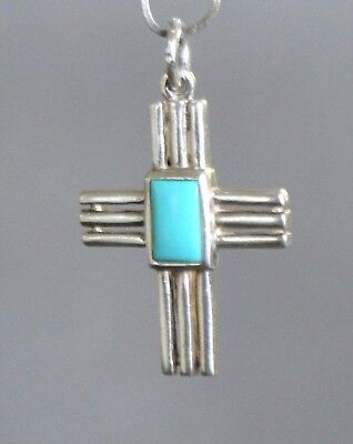 Vintage Sterling Silver  Cross With Turquoise Center Stone  Nice Free Shipping