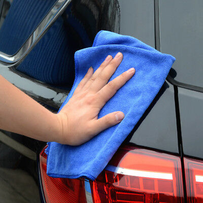Car Blue Soft Microfiber Absorbent Towel Wipe Dry Cleaning Wash Cloth 30x70cm
