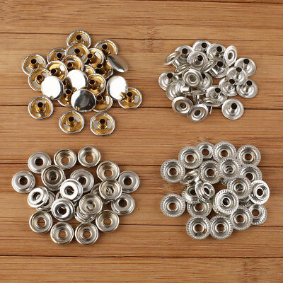 100x Stainless Steel Fastener Snap Press Stud Cap Button Marine Boat Canvas