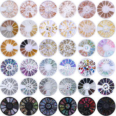 Rose Gold Nail Rhinestones Rivet Chameleon AB Color 3D Nail Decoration In Wheel