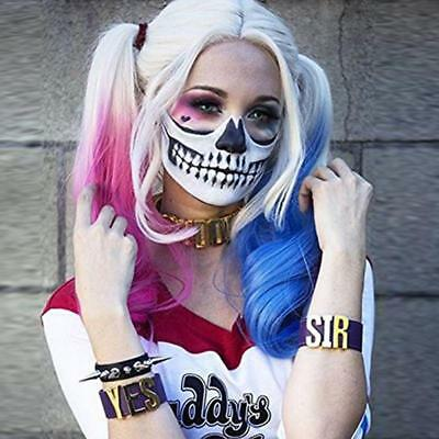 Comic Harley Quinn Synthetic Wig Mixed Color Blue and Pink Ombre Color Long Wavy