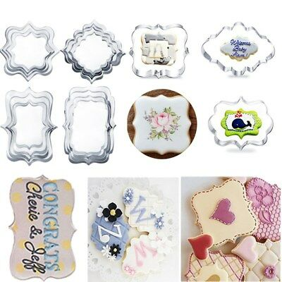 Stainless Stee Plaque Frame Cookie Cutter Mould Cake Fondant Biscuit Baking Mold