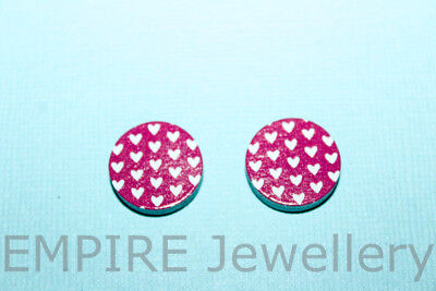 2 x White Hearts Pattern on Pink Wooden Laser Cut Flatback 16x16mm Cabochon Love