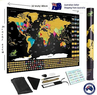 Premium Deluxe Large Scratch Off World Map Personalized Travel  FREE SHIPPING