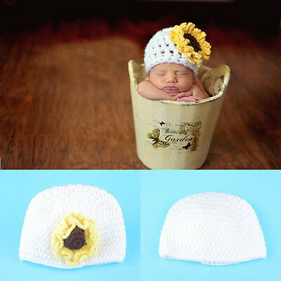 0-6 Months Baby Boy Girl Crochet Beanie Hat Sunflower Costume Photography Props
