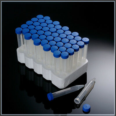15mL / 50mL Capacity Centrifuge Tube Attached Blue Flat Top Screw Cap, Sterile