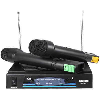 Professional 210-280MHz VHF Wireless Handheld Dual Channel Transmitter Mic Set