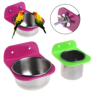 Parrot Pet Stainless Steel Food Water Bowl Bird Feeder For Crates Cages Coop Dog
