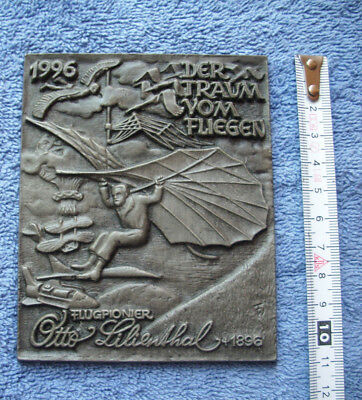orig. BUDERUS Metall Tafel OTTO LILIENTHAL - 1896 - 1996 - 11,5 x 9,5 cm - TOP