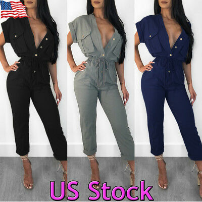 Womens V Neck Casual Playsuit Party Ladies Romper Short Sleeve Long Jumpsuit USA