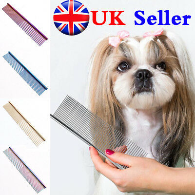 "Pet Dog Cat Metal Double Row Teeth Grooming Hair Comb Brush Fur Rake Tool ""UK"""