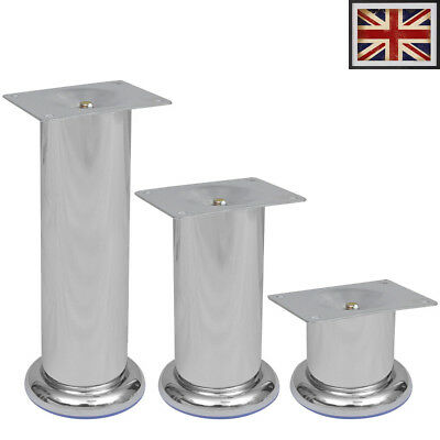 4 Round Spare Sofa Legs Chrome Iron Feet Chair Footstool Bed Settee