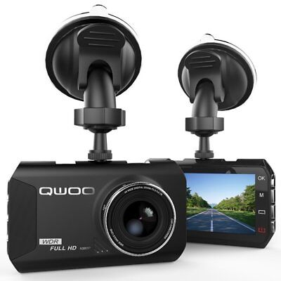 "QWOO Dashcam 1080P HD 3.0"" LCD Full HD DVR mit 170°, Loop, Nachtsicht, G-Sensor"